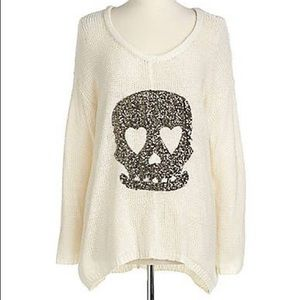 Sequin-Skull Knit Pullover Sweater